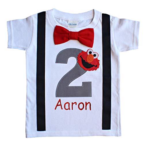 (2nd Birthday Shirt Boys Grey Elmo Tee - Personalized)