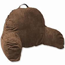 Brown Microsuede Bed Rest Reading Pillow & Support Bed Backrest Pillow With Arms - Bedrest Pillow, Bed Rest Lounger Makes A Comfy And Therapeutic Cuddle Buddy, Bed Pillow For Sitting Up