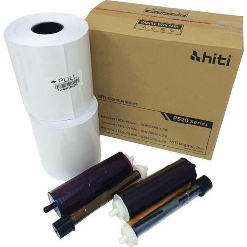 HiTi 4x6'' Media for Photo Printer P520 & P520L, 500 Sheets to a Roll, 2 Rolls in a Box, 152x102mm by Hiti