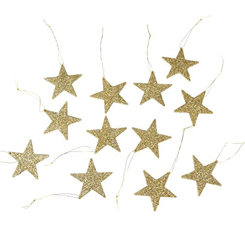 Darice 2469-37 12-Piece Flat Star Glitter Ornament, 2-Inch, Gold