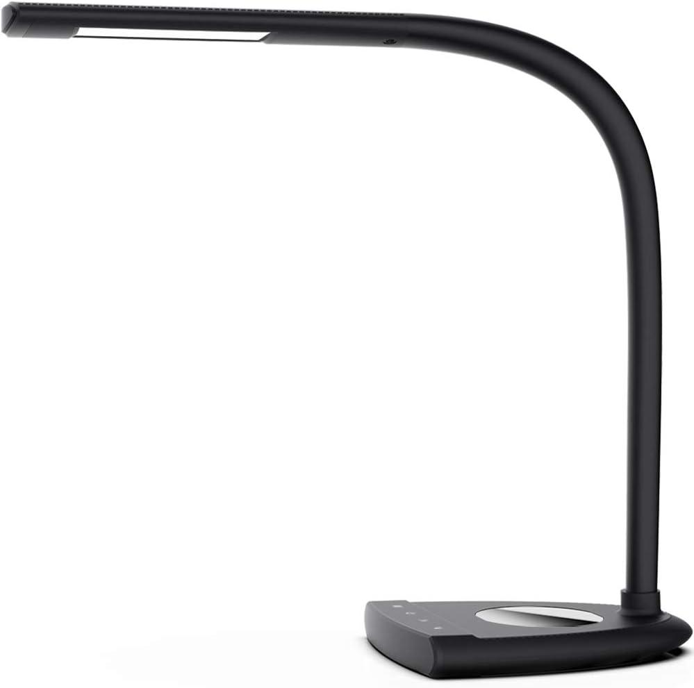 LEUKOPIA LED Desk Lamp, 3 Lighting Modes with 5 Brightness Levels,Gooseneck Desk Lamp, Black, Touch Control, Memory Function, Table Lamp for Kids, Office