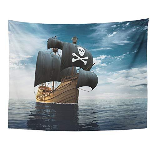 SPXUBZ Wall Tapestry Blue Sailboat Pirate Ship
