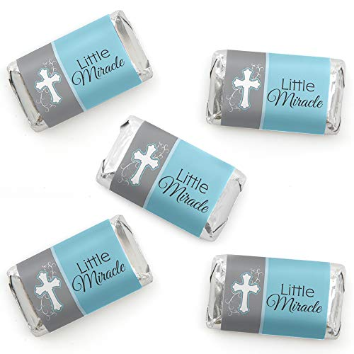 - Little Miracle Boy Blue & Gray Cross - Mini Candy Bar Wrapper Stickers - Baptism or Baby Shower Small Favors - 40 Count