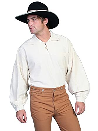Victorian Men's Shirts- Wingtip, Gambler, Bib, Collarless Drop Shoulder Shirt  AT vintagedancer.com