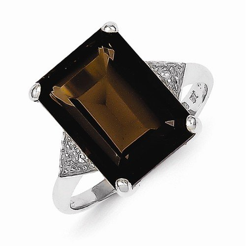 925 Sterling Silver Brown Simulated Smokey Quartz & Diamond Fashion or Engagement Ring (.01 cttw.) (2mm)