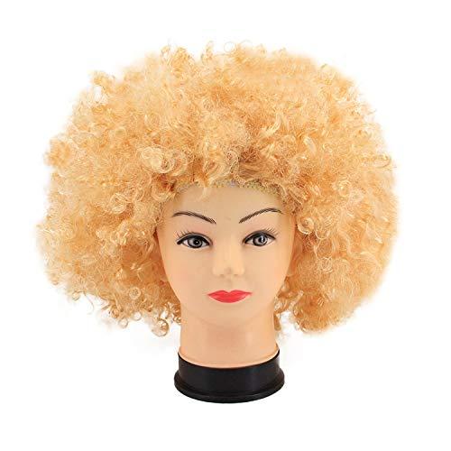 La moriposa Unisex 60s 70s Halloween Costume Party Disco Hippie Style Afro Wig(Gold) ()