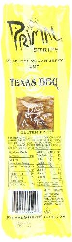 Primal Strips Meatless Vegan Jerky, Best Tasting Vegan Snack, High Protein, Low Fat, Guiltless, NonGMO, Texas BBQ, 1 Ounce (Pack of 24)