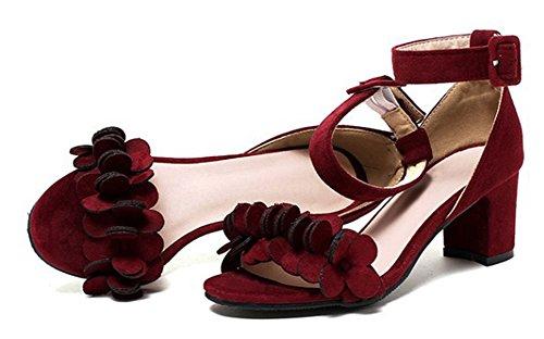 Vin Confortable Féminin En Sandales Rouge Boucle Faux Fleur Aisun Daim vBOwgqq8x