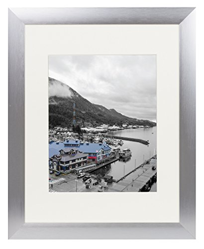Golden State Art, Satin Silver Color Brushed Aluminum Landscape Or Portrait Photo Picture Frame with Ivory Color Mat & Real Glass (11x14)
