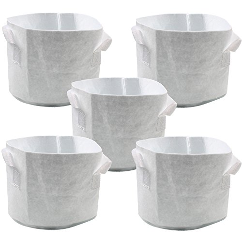 White Fabric Garden Planting 5-Gallon 5-Pack Grow Bags/Pots With Handles for Potatoes,Tomatoes and Vegetables
