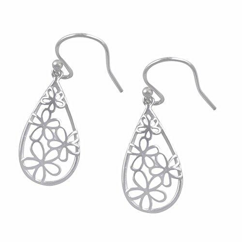 (Sterling Silver BoHo Daisy Flower Dangle Earrings)