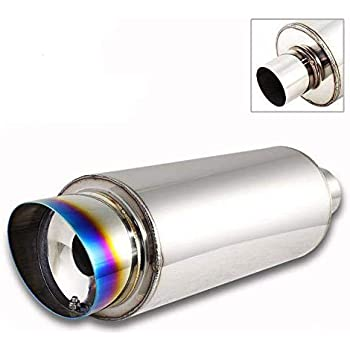 "3/"" Dual Burnt Slant Tip Stainless 2.5/"" Inlet Weld-on Exhaust Muffler Universal"