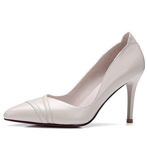 Nine Seven Cuero Moda Puntiagudos Zapatos de Tacón Aguja de Vestir para Mujer Beige
