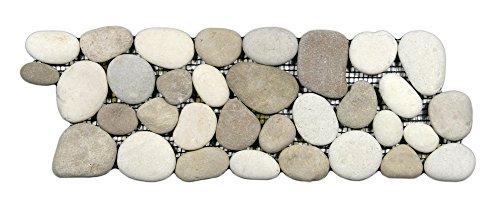 White Pebble Tile - Java Tan and White Pebble Tile Border 1 piece