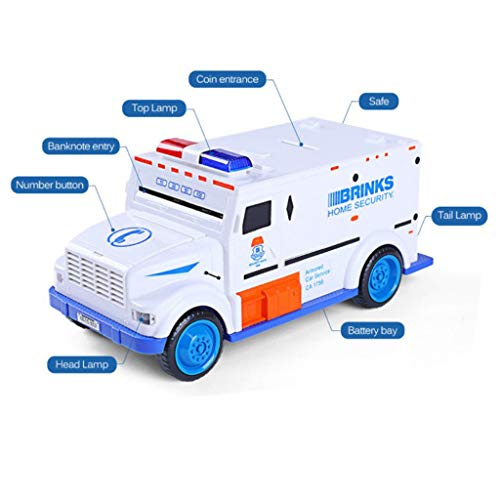 ESC White Armored Truck Password Piggy Bank Money Saving Box with Coin & Note Insertion Music by ESC (Image #3)