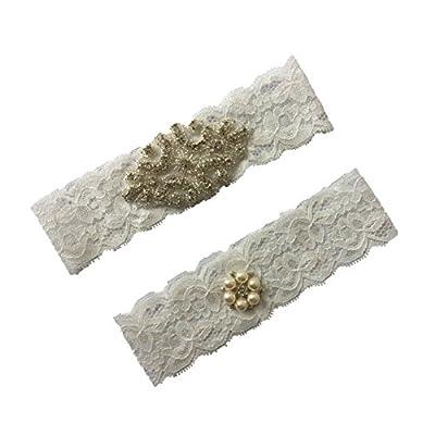 Prettybabyonline White Lace Bridal Wedding Leg Garter Belt Set Pearls