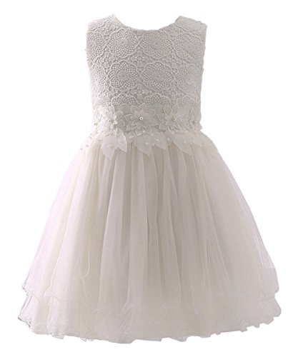 Girls Up Dress (Abaosisters Flower Girl Dress Lace Crochet Bow Sash Party Wear 6-13 Year Old Ivory 12-13)
