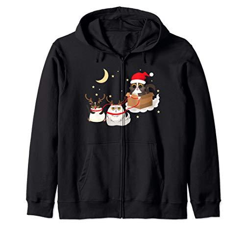 Santa Claus Cat Reindeer Sleigh Funny Christmas Costume Zip Hoodie