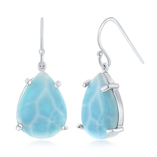 Sterling Silver High Polish Natural Larimar Four-Prong Pear-Shaped Earrings (Larimar Pear Ring)