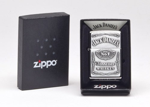 Zippo 250JD.427 Jack Daniel's Tennessee Whiskey Emblem Pocket Lighter, High Polish Chrome