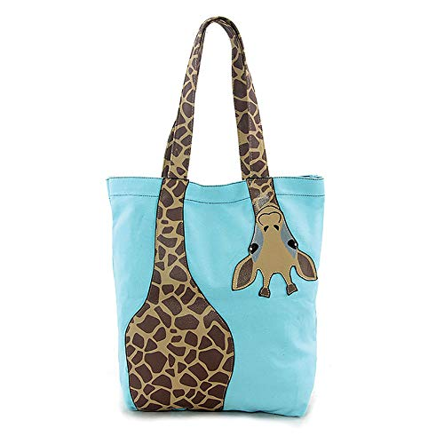 Cute Bending Giraffe Teal Embroidered Tote Bag Animal Print -