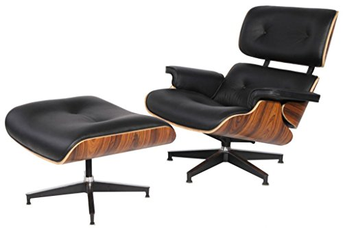 -Century Plywood Lounge Chair & Ottoman Eames Replica Leather Black Palisander (Eames Lounge Ottoman)