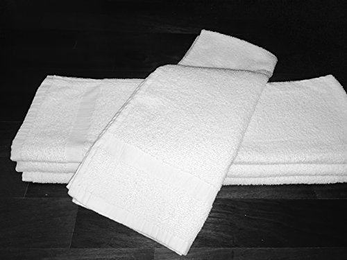 120 NEW WHITE SPA GYM SALON HAND TOWELS CAM BORDER 100% COTTON 15X25 2.25LBS/DZ