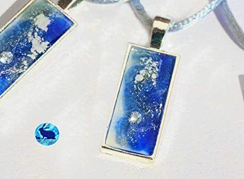 Collar corto de mujer con circonita, colgante color azul y plata hecho a mano en resina. Regalo perfecto Handmade collar artesanal bisuteria