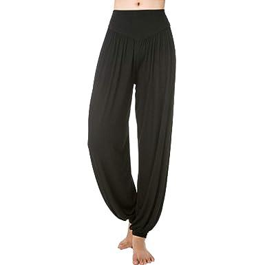 Mujer Pantalones De Cómodo Anchas Linterna Unicolor Verano ...