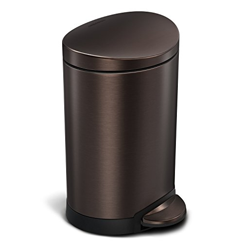 simplehuman 6 Liter / 1.6 Gallon Stainless Steel Compact Semi-Round Bathroom Step Trash Can, Dark Bronze Stainless Steel