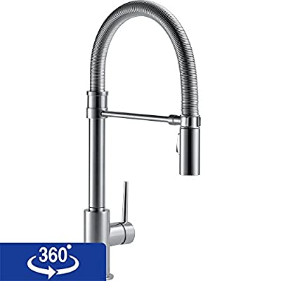 Delta Faucet 9659T-AR-DST Trinsic Pro Single Handle Pull-Down Spring Spout Kitchen Faucet with Touch2O Technology, Arctic Stainless