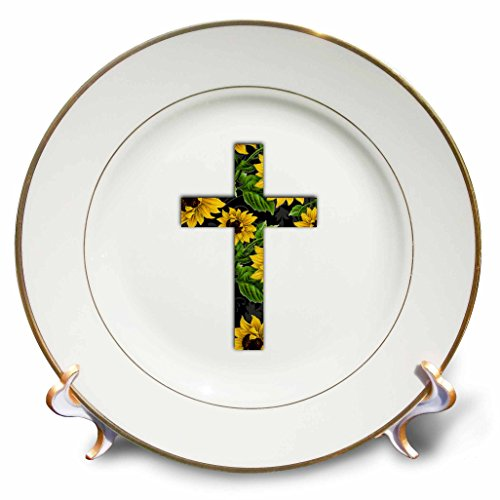 "3dRose Sunflower Pattern Christian Cross-Black and Yellow Floral Crucifix-Porcelain Plate, 8"" (cp_185475_1)"
