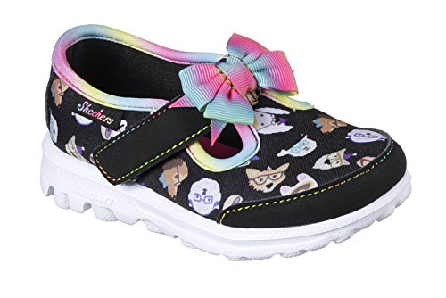ac963995e45 Galleon - Skechers GO Walk Bow Wow Girls Sneakers Black/Multi 8