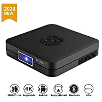 TOUMEI K1 3D Mini Smart Projector 350 ANSI Lumens High Brightness DLP Projector 30000Hrs Life 1080p 4K Video decoding Support WiFi Bluetooth 4.2 Electro Focus Compatible with PS4,PC via HDMI USB