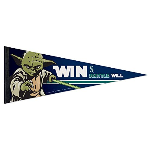 Bek Brands Baseball Teams Special Collector's Flag Banner Pennant with Yoda, Chewbacca, Darth Vader, 12 x 30 in (Seattle Mariners, Yoda)