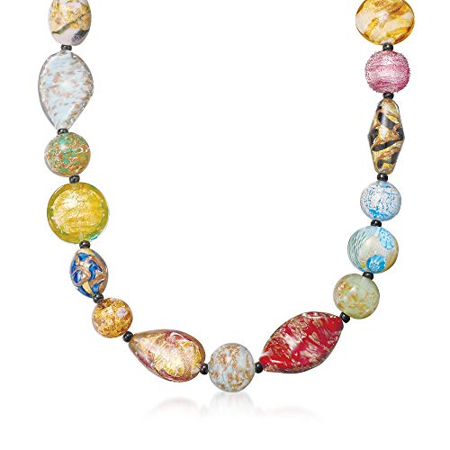 (Ross-Simons Italian Multicolored Murano Glass Bead Necklace With 18kt Gold Over Sterling)