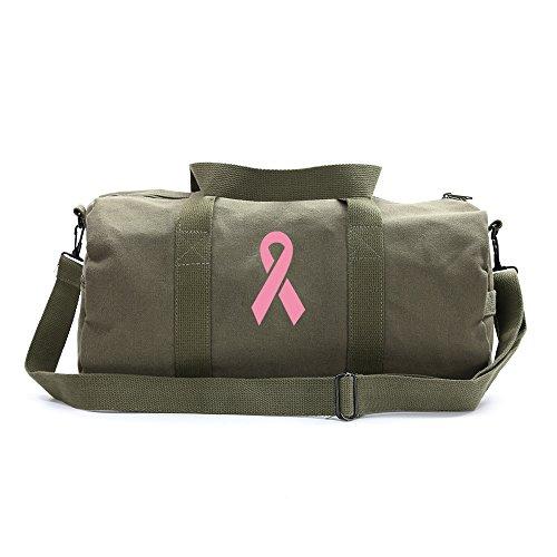 Breast Cancer Awareness Heavyweight Canvas Duffel Bag Pink Ribbon, Olive Medium ()