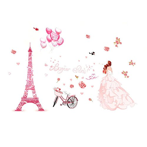 Iuhan Bonjour Paris wall sticker lovely sweet girl with rose mural Decor Bedroom Home sticker Wall by Iuhan (Image #3)