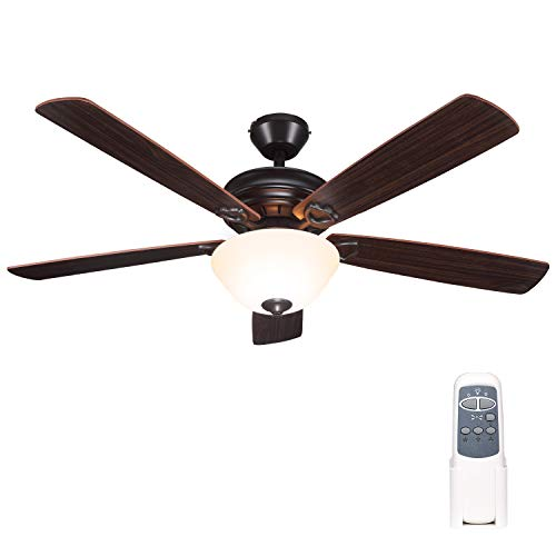 52 Inch Indoor Oil-Rubbed Bronze Ceiling Fan With Light Kits and Remote Control, Classic Style, Reversible Blades, ETL…