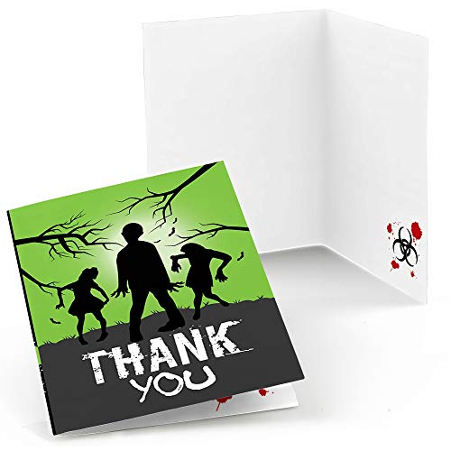 Zombie Zone - Halloween or Birthday Zombie Crawl Party Thank You Cards (8 Count) -