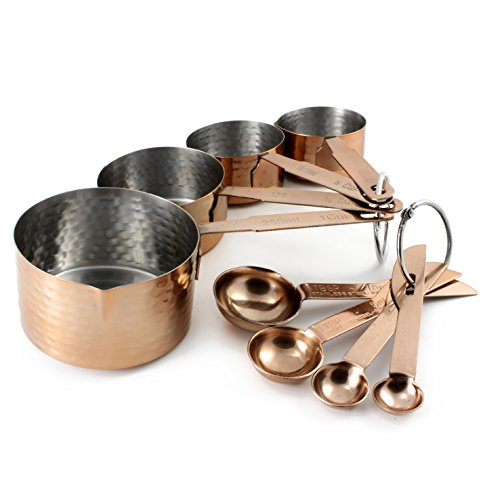 8-Piece Copper Measuring Cup & Spoon Set; Hammered Copper Style with Stainless Steel