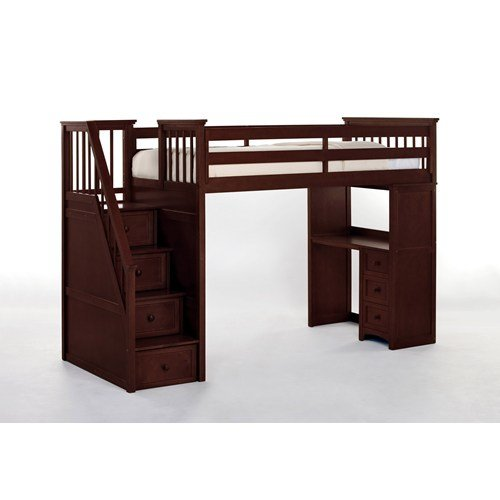 NE Kids School House Stair Loft Bed in Cherry