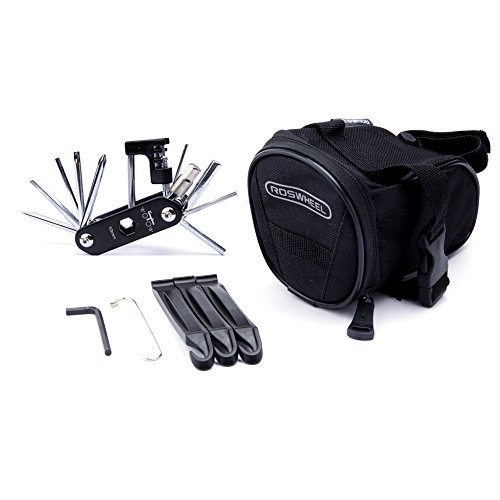 WOTOW Bicycle Repair Set Bike Outdoor Seat Saddle Bag 14 in 1 Multi Function Tool Kit Chain Splitterr (Black) (1 Seat Bag)