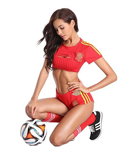 Red Cheerleader Outfit - Sexy Soccer Player Cheerleading Costume Fancy World Cup Football Uniform