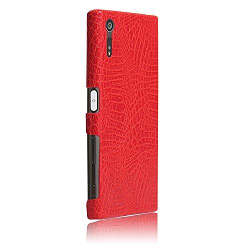 YHUISEN Sony XZ / XZs Caso, patrón de piel de cocodrilo clásico de lujo [ultra delgado] cuero de la PU antirayado PC cubierta protectora de la caja dura para Sony Xperia XZ / XZs ( Color : Brown ) Red