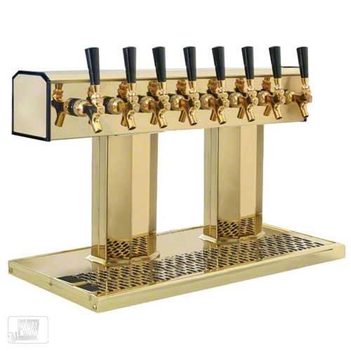 (Glastender (BT-8-PBR) - Polished Brass 8-Faucet Tee Tower )