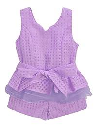 uxcell® Girl Deep V Neck Peplum Top w Front Pockets Shorts Sets