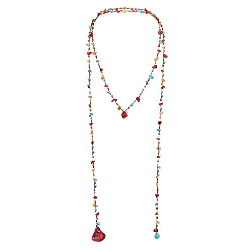 AeraVida Long Lariat Wrap Multi-Wear Simulated Turquoise & Red Mix Stones Beaded Necklace (Turquoise Bead Lariat)