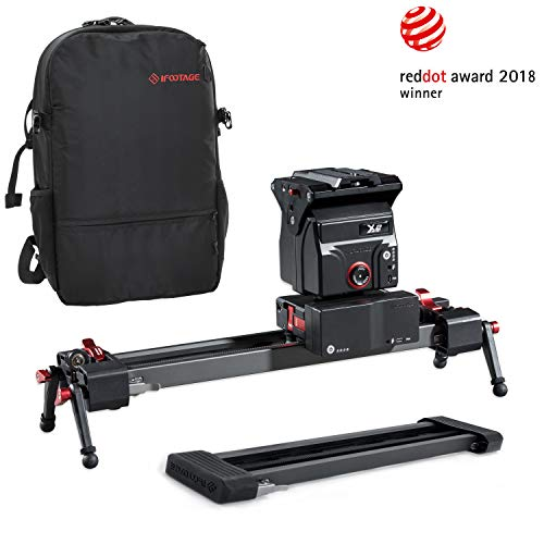IFOOTAGE Electric Camera Slider 33inch Motorized Photography Slider Tracker Silent Motor Camcorder Tracking Video Shooting Follow Focus - Shark Slider Mini with Backpack