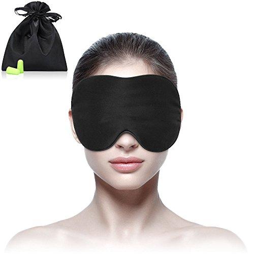 Sleep mask Silk & Eye mask for A Full Nights Sleep, Comfortable with Adjustable Strap, Blindfold, Blocks Light-Earplugs Include